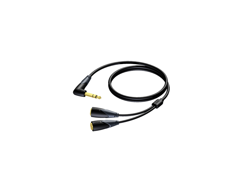 Procab 6.3 mm Jack angled male stereo - 2 x 6.3 mm Jack female stereo 1,5 meter