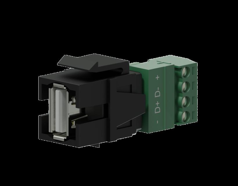 Procab Keystone adapter - USB 2.0 A - 4-pin terminal block Black