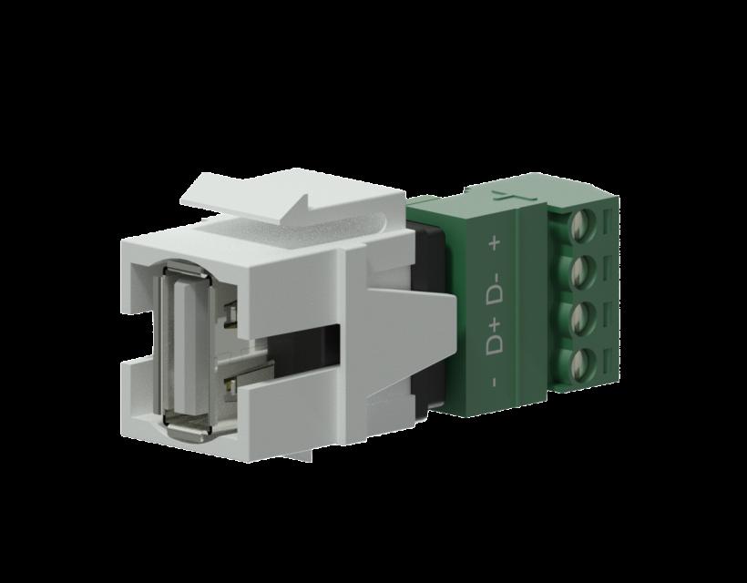Procab Keystone adapter - USB 2.0 A - 4-pin terminal block White
