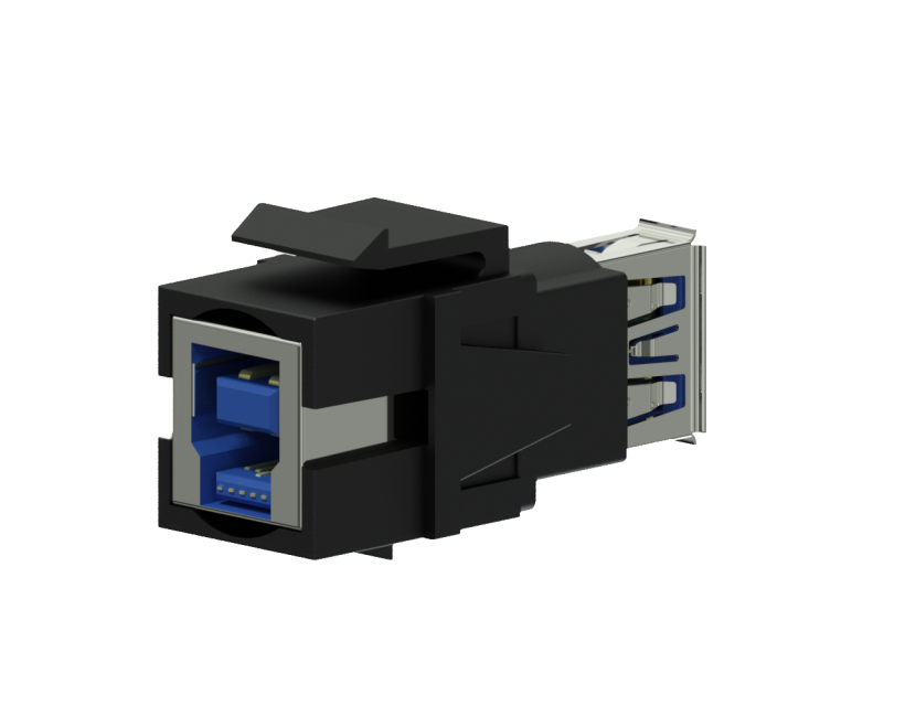 Procab Keystone adapter - USB 3.0 A - USB 3.0 B - reversible Black