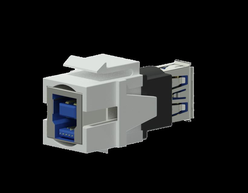 Procab Keystone adapter - USB 3.0 A - USB 3.0 B - reversible White